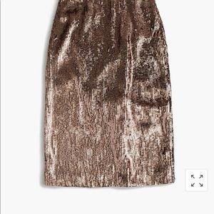 J Crew Rose Gold Sequin Skirt